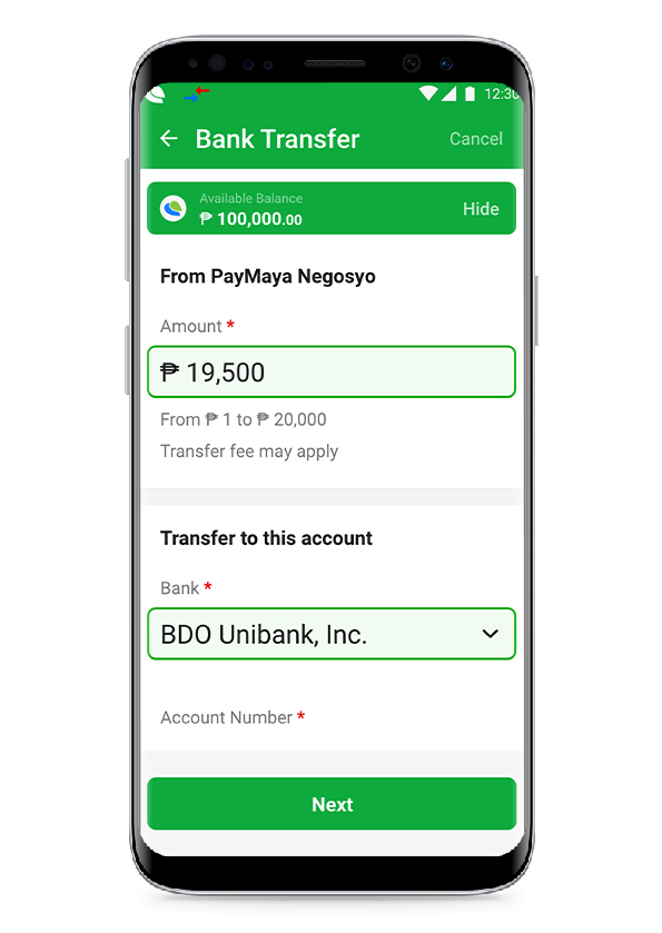 PayMaya Negosyo Bank Transfer
